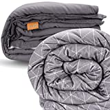 rocabi 30 lbs Adult Weighted Blanket & Two Cover Set (60'x80') A Queen Size Heavy Weighted Comforter for a Person Between 270-320 Pounds Using Premium Glass Beads & Soft Minky Removable Cover
