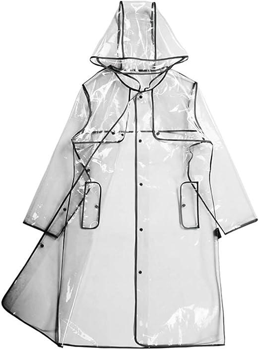 Frauen klar Regenmantel Eva wasserdichte Regenjacke Mantel mit Abnehmbarer Kapuze