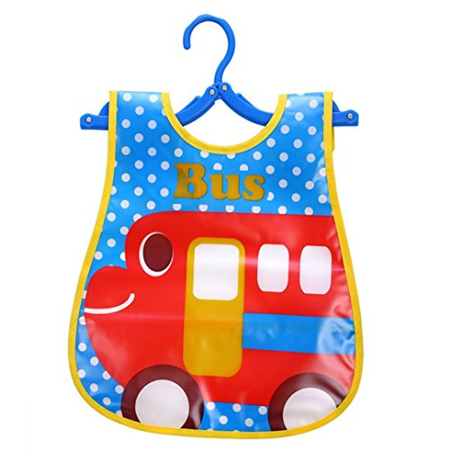 (Juner Newborn Baby Waterproof Cartoon Bib Hook&Loop Sleeveless Pinafore for Drooling, Teething, Feeding)