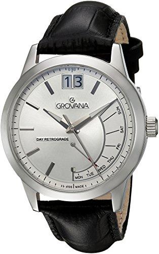 Grovana Men's 1722-1539 Retrograde Analog Display Swiss Quartz Black - Watch Luxury Retrograde