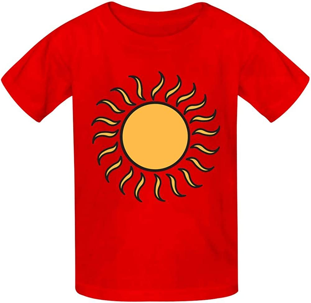 Retro Sun Design Childrens Comfortable and Lovely T Shirt Suitable for Both Boys and Girls