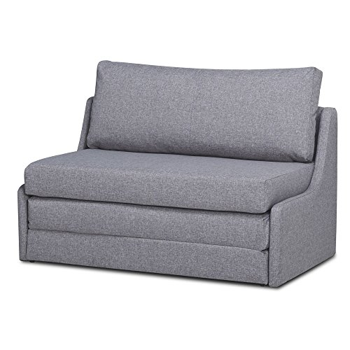 Sleeper Loveseat, Convertible Sofa, Upholstered Twin Size Daybed, Linen Fabric Contemporary Living Room Seat - Ash Living Loveseat Room