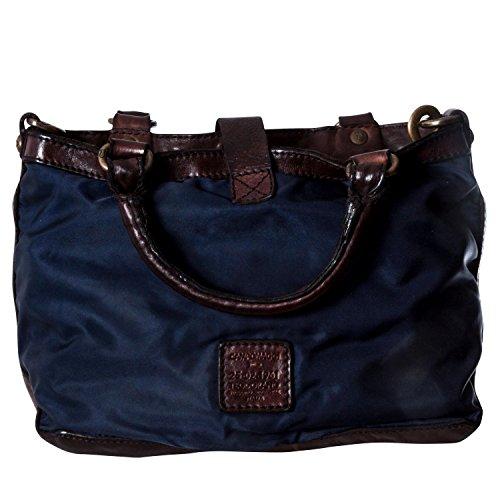 Campomaggi Damen Shopper Nylon Umhängetasche Dunkelblau One Size Dunkelblau (Blue/Dyed Brown) IXWNmEIIDG