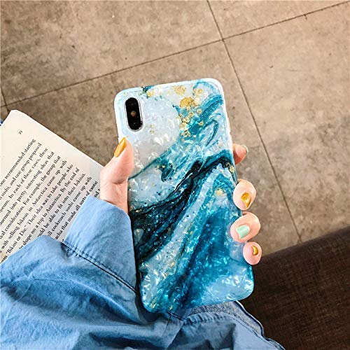 (iPhone X Case Marble iPhone 10/Xs Case Girls Women Cute [Tinfoil] Pearly Glitter Phone Case Protective TPU Silicone Case for iPhone X/Xs 5.8 inch (Blue White))