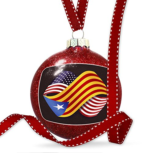 Christmas Decoration Friendship Flags USA and Catalonia region Spain Ornament by NEONBLOND