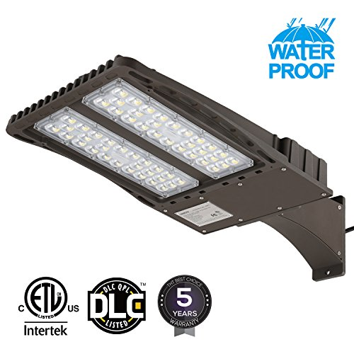 Tennis Court Light (Ultra Bright LED Parking Lot Light with Photocell, 150W (450W Equiv.) Arm Mount Area Lighting Fixture, Dusk-to-Dawn, DLC & ETL Listed, for Docks, Driveways, Backyards, 5-Year Warranty)