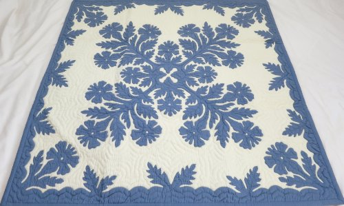 Hawaiian quilt wall hanging and baby blanket 100% hand quilted/hand appliqued 42x42
