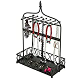 Black Metal Arch Design Jewelry Organizer Stand w/ 14 Necklace Hooks, 34 Earring Holes & Ring Tray