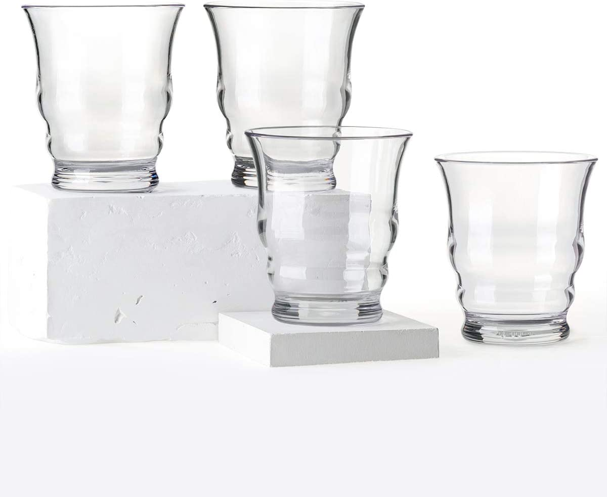 Cupture Riviera Tumblers Unbreakable Drinking Glasses, BPA-Free Ecozen Material, 12 oz, 4 Pack (Clear)