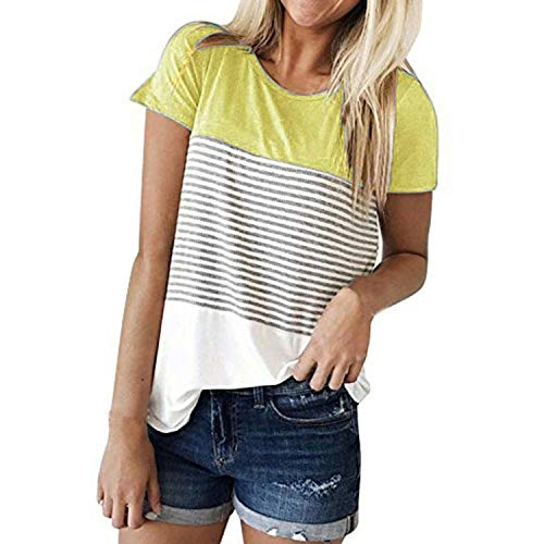 BAN LU Women's Round Neck Short Sleeve Stitching Striped Top Leisure Colorblock T-Shirt,Large,Yellow (Bulldogs Coat Lab Long)
