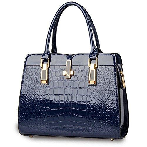Cuerpo Estilo qckj Cocodrilo bolso Mujeres Fashion PU Hombro azul oscuro Europeo Cruz Bolsa De EqaYgqw