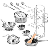 metal cook ware - Joyin Toy Stainless Steel Pretend Play Kitchen Play Food Pots and Pans and Tea Party Set for Kids-12 pcs