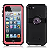 FAVOLCANO New Version Knight Series IP68 Underwater Waterproof Shockproof Snowproof Dirtproof Durable Full Sealed Protection Case with Kickstand for iPod Touch 5th 6th Generation (Pink)