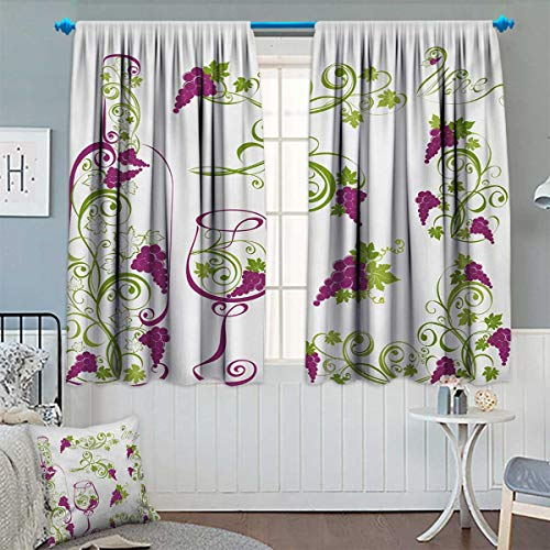 Chaneyhouse Wine Window Curtain Fabric Wine Bottle and Glass Grapevines Lettering with Swirled Branches Lines Drapes for Living Room 72