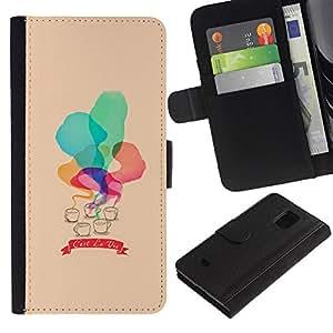 UberTech / Samsung Galaxy S5 Mini, SM-G800, NOT S5 REGULAR! / Quote C'Est La Vie Watercolor Peach / Cuero PU Delgado caso Billetera cubierta Shell Armor Funda Case Cover Wallet Credit Card