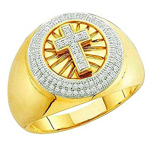 0.30 Carat (ctw) 10k Yellow Gold White Diamond Men's Hip Hop Micro Pave Cross Band Ring Size 11.5 by DazzlingRock Collection