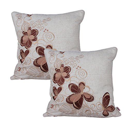 Embroidered Vintage Pillowcase - Queenie® - 2 Pcs of Floral Embroidery on Solid Cotton Linen Background Decorative Throw Pillow Case Embroidered Throw Pillowcase Pillow Sham Cushion Covers 18 X 18 Inch 45 X 45 Cm (Pattern 4 - Brown)