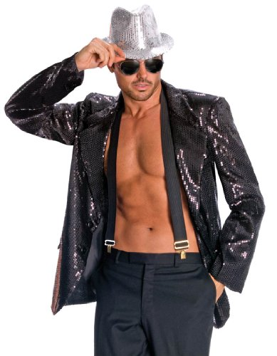 [Rubie's Costume Deluxe Men's Black Sequin Jacket, Black, Small Costume] (80s Costumes For Family)