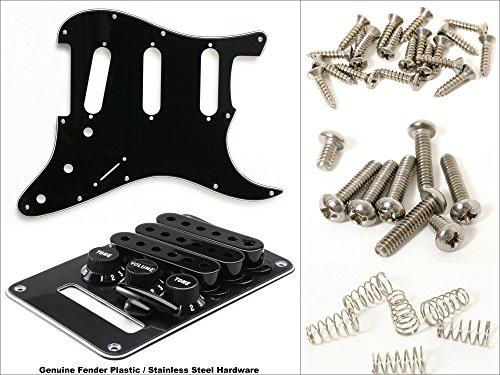 Plastic/Hardware Kit for Strat - Fender 3-Ply Black Pickguard & Fender Black Accessory Kit, Modern 11-Hole Mount, with Stainless Steel Hardware