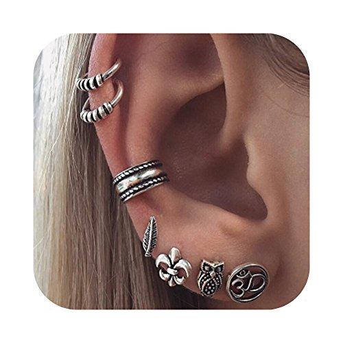 Geerier-Vintage-Punk-Stud-Earrings-Set-Owl-Carved-Swirls-Piercing-Non-Piercing-Ear-Cuff-Set-Body-Jewelry