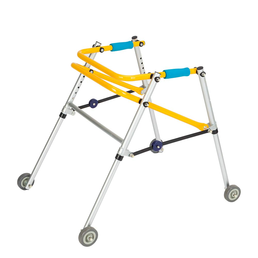 """Mefeir Folding Aluminum Alloy Safety Child Walker, Lightweight, Adjustable Height, Mobility Aid, with 3"""" Wheels, Junior, Yellow Blue"""