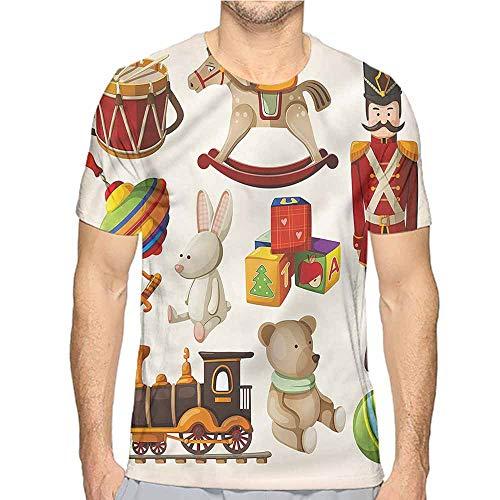 Comfort Colors t Shirt Kids,Wooden Toy Rocking Horse Drum t Shirt ()