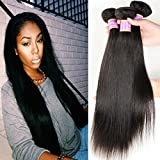 (14 16 18inches, Natural Color)Beauty Youth Brazilian Straight Virgin Hair 3 Bundles Brazilian Straight 7A Unprocessed Virgin Hair Human Hair Bundles 95-100g/pc offers