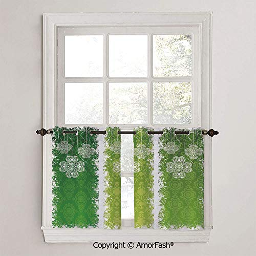 Irish Kitchen Curtains,Modern Geometric Design Print, Window Drapes for Kitchen Cafe,W42 x L18-Inch,Aged Vintage Antique Figures on Green Toned Color Bands Celtic Historic Lace Image Decorative