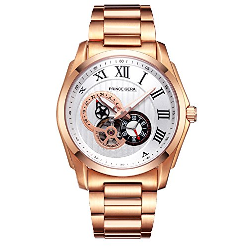 PRINCE GERA Men's 18K Gold Luxury Watch White Dial Waterproof Automatic Dress Watches 24 Hour Skeleton ()