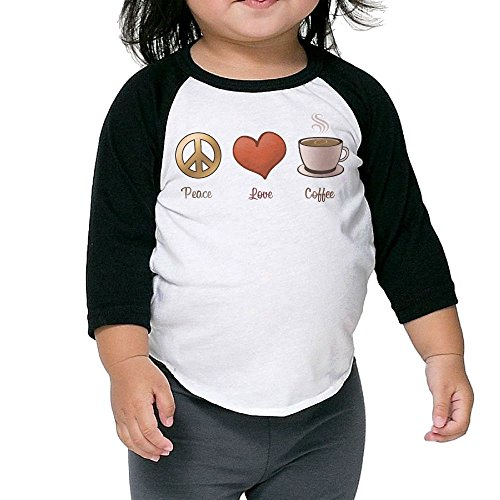SH-rong Peace Love Coffee Kids Essential Tee Size5-6 Toddler