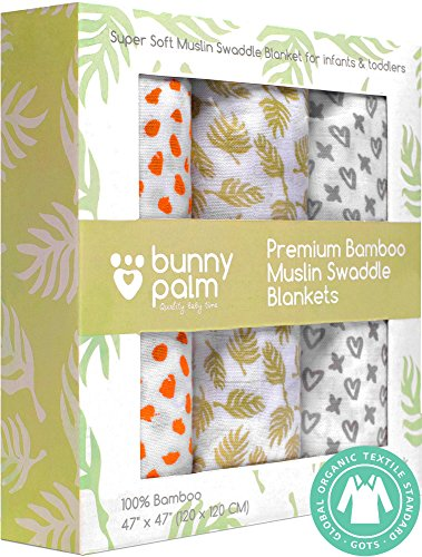 o Swaddle Blanket | Newborn Boys and Girls Soft Receiving Baby Swaddling Blankets | Set of 3 by BunnyPalm | Large | Unisex for Infant or Toddler | 47 x 47 inch | Baby Shower (3 Month Lightweight Strollers)