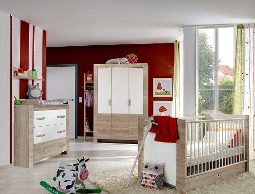 7 Tlg Babyzimmer Eiche Sagerau Weiss Kleiderschrank Wickelkommode
