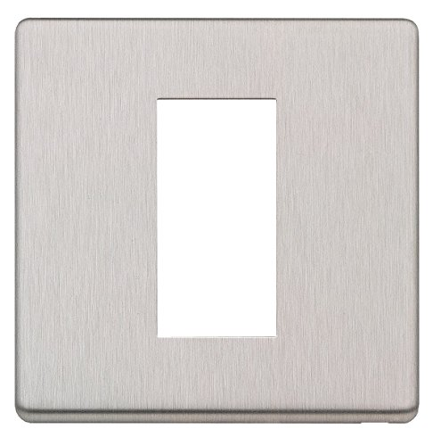 Plate White Module Front - MK Electric Aspect Brushed Stainless Steel Euro 1 Module Front Plate, White, One Size