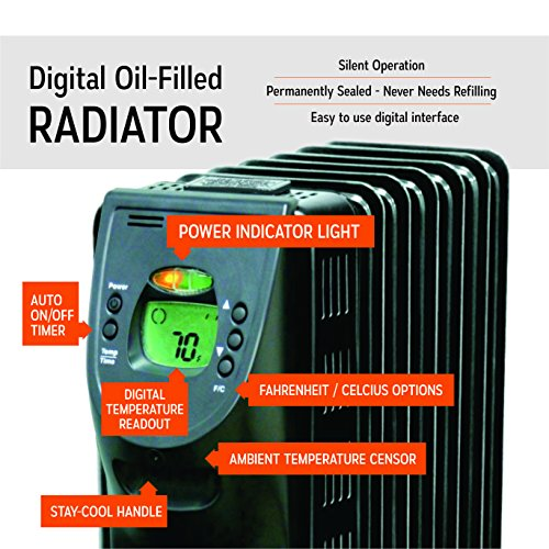 Electric Oil Filled Radiator Heater With Digital Display