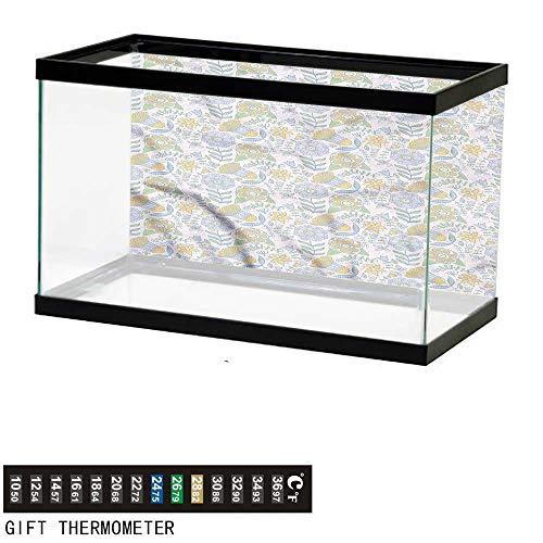 bybyhome Fish Tank Backdrop Garden Art,Doodle Nature Scroll,Aquarium Background,30