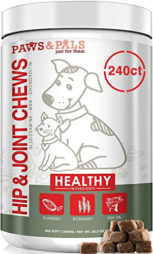 Paws & Pals Glucosamine Supplement for Dogs: Hip & Joint Health Supplements with Chondroitin & MSM for Pain Relief & Senior Dog/Cat Arthritis Support - Chewable Pet Multi Vitamin - 240 Soft Chews ()