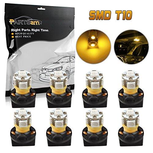 - Partsam Pack of 8 PC168 194 5050 SMD Instrument Panel Amber LED Light Bulb w/ T10 Holder