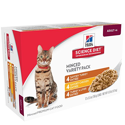 Hill's Science Diet Wet Cat Food, Adult, Minced Savory Recipe Variety Pack, 5.5 oz Cans, 12-pack