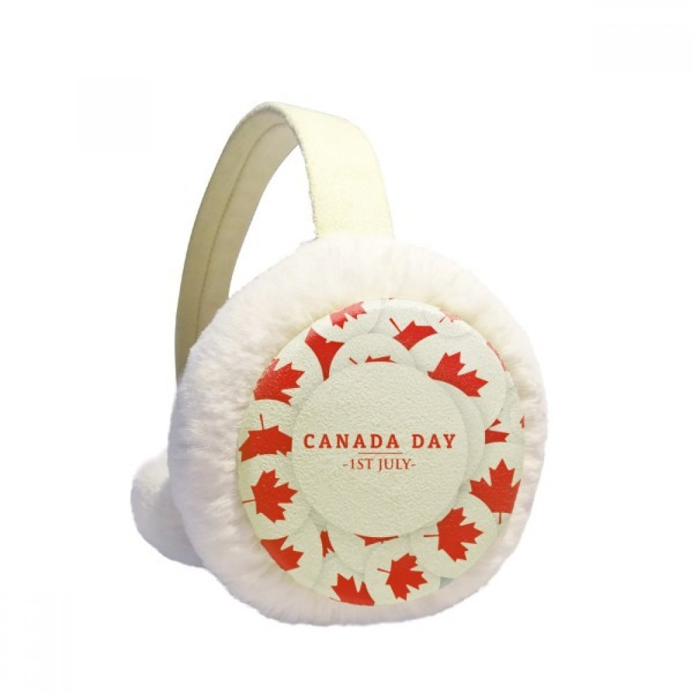 4th Of July Maple Leaf Happy Canada Day Winter Earmuffs Ear Warmers Faux Fur Foldable Plush Outdoor Gift