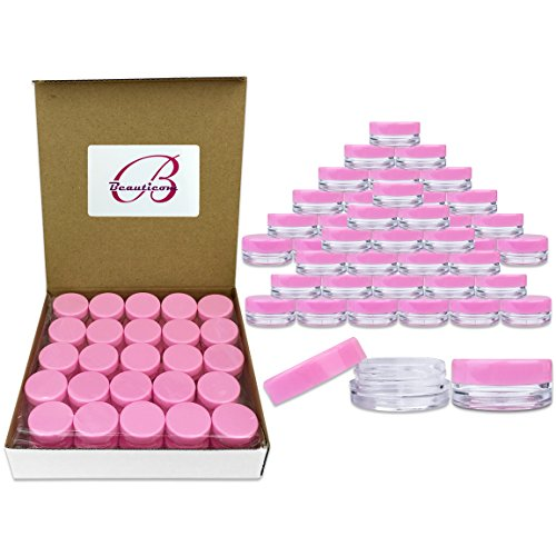 Beauticom 3G/3ML Round Clear Jars with Pink Lids for Cosmetics, Medication, Lab and Field Research Samples, Beauty and Health Aids - BPA Free (Quantity: 50 Pieces) (3g Jar)