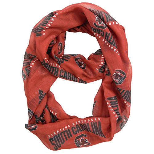 NCAA South Carolina Fighting Gamecocks Sheer Infinity Scarf, One Size, Red