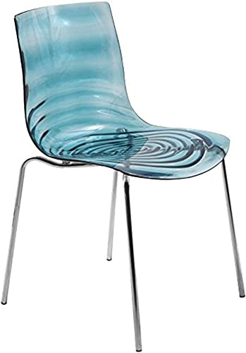 LeisureMod Water Ripple Design Modern Lucite Dining Side Chair