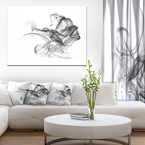 Woman and Smoke Double Exposure Portrait Canvas Art Print by Design Art