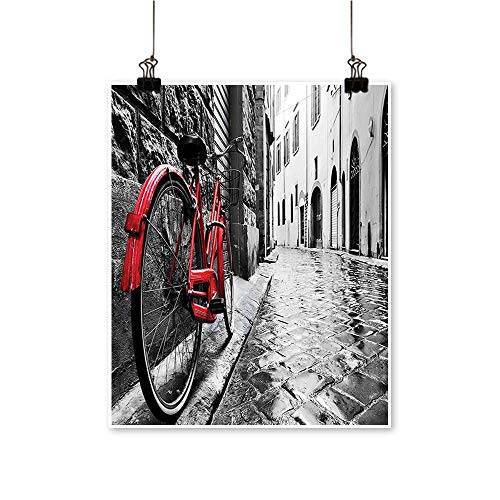 Canvas Wall Art for Bedroom Home Classic Bike on Cobblestone Street in Italian Town Leisure Charm Artistic Photo Red Canvas Art Posters Prints,24