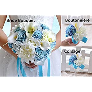 Abbie Home Wedding Flower Set of 5 Calla Dahlia Orchid Bridal Bouquets Rose Bridesmaid Wrist Corsage Groomsman Boutonniere Brooch Pin (Z Set of 5) 73