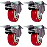 4 Pack Caster Wheels Swivel Plate Stem Break Casters On Red Polyurethane Wheels 880 Lbs (3 inch with brake)