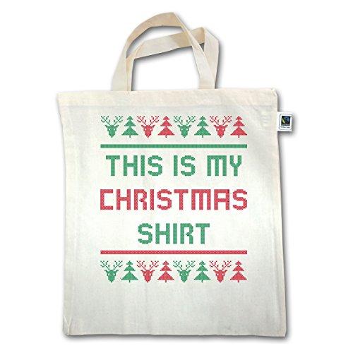 Natale E Capodanno: Questa È La Mia Maglietta Natalizia - Unisize - Natural - Xt500 - Manico Corto In Juta