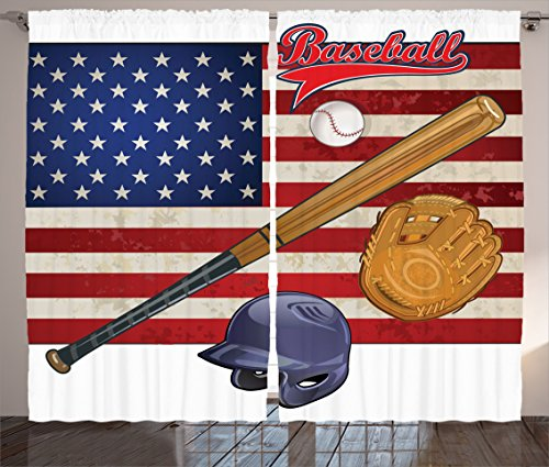 Ambesonne Sports Decor Collection, USA American Flag and Baseball Equipment Champion Tournament Image Pattern, Living Room Bedroom Curtain 2 Panels Set, 108 X 84 Inches, Navy Red Peru Dimgray - American Farmhouse Bedroom Collection