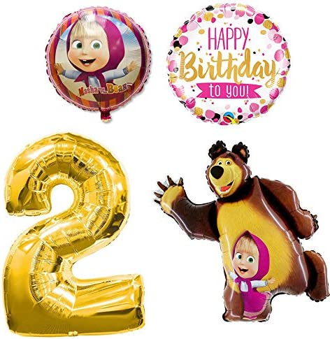 5 Pack Masha and the Bear Birthday Party Balloons balloon decoration supplies
