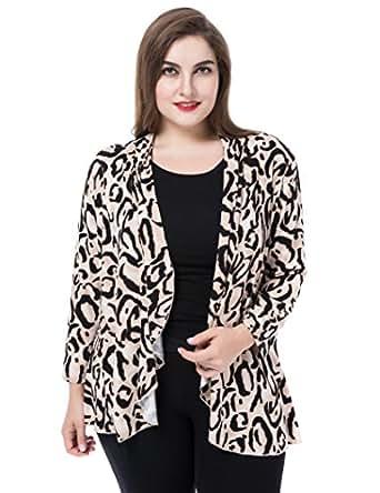 Chicwe Mujeres Tallas Grandes Casual Blazer Chaqueta con Estampado de Leopardo - Frente Abierta Cascada Beige/Negro L